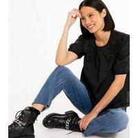 Black Poplin Puff Sleeve Lace Collar Blouse New Look