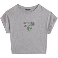 Girls Grey Dogs Live Here Slogan T-Shirt New Look