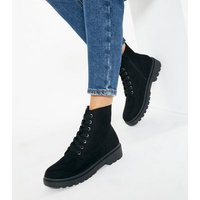 Black Suedette Lace Up Chunky Biker Boots New Look Vegan