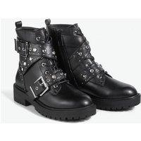 Wide Fit Black Gem Buckle Lace Up Boots New Look Vegan