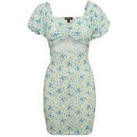 Pink Vanilla Blue Floral Cut Out Puff Sleeve Dress New Look