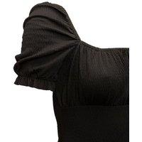 Pink Vanilla Black Shirred Puff Sleeve Dress New Look