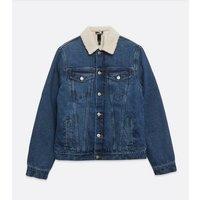 Men's Blue Teddy Collar Denim Jacket New Look