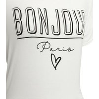 Pink Vanilla White Mesh Hem Bonjour Slogan T-Shirt New Look