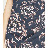 Apricot Navy Abstract Leaf Print Bodycon Dress New Look