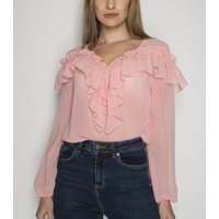 21st Mill Pink Frill Chiffon Blouse New Look