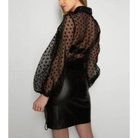 21st Mill Black Leather-Look Lace Up Skirt New Look