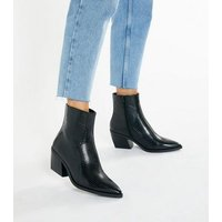 Black Faux Snake Pointed Western Boots New Look Vegan