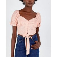 Pink Vanilla Pink Floral Puff Sleeve Top New Look