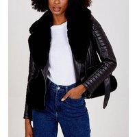 Blue Vanilla Black Faux Fur Trim Leather-Look Jacket New Look