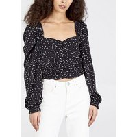 Pink Vanilla Black Spot Ruched Long Sleeve Top New Look