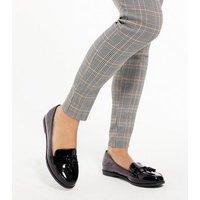 Girls Black Patent Tassel Loafers New Look