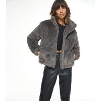 Dark Grey Faux Fur Puffer Jacket New Look