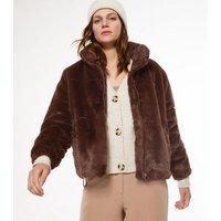 Dark Brown Faux Fur Puffer Jacket New Look