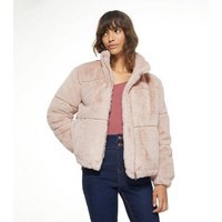 Pale Pink Faux Fur Puffer Jacket New Look