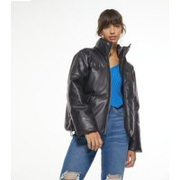 Black Leather-Look Padded Puffer Jacket New Look