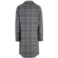 Black Check Woven Long Coat New Look