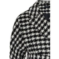 Black Dogtooth Belted Long Coat New Look