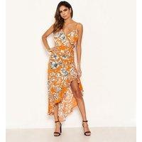 AX Paris Orange Floral Dip Hem Dress New Look