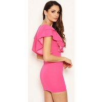 AX Paris Bright Pink V Neck Frill Dress New Look