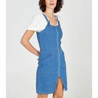 Blue-Vanilla-Bright-Blue-Zip-Front-Denim-Dress-New-Look