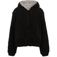 Girls Black Fleece Reversible Hooded Jacket New Look