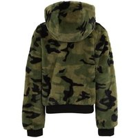 Girls Green Camo Faux Fur Reversible Bomber Jacket New Look