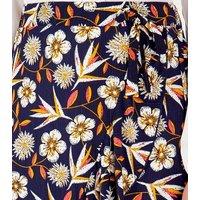Blue Vanilla Navy Floral Frill Wrap Maxi Skirt New Look
