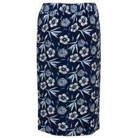 Blue Vanilla Navy Floral Pleated Wrap Midi Skirt New Look