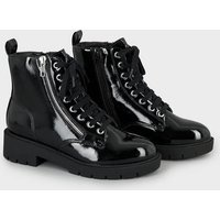 Girls Black Patent Lace Up Boots New Look Vegan
