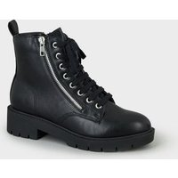 Girls Black Chunky Lace Up Boots New Look Vegan