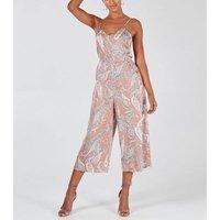 Blue Vanilla Pink Paisley Crop Jumpsuit New Look