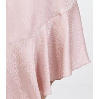Blue Vanilla Pink Satin Jacquard Asymmetric Midi Skirt New Look
