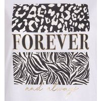 White Animal Forever Box Slogan T-Shirt New Look