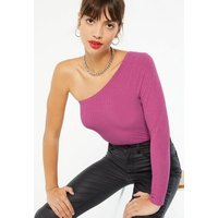 Bright Pink Ribbed One Shoulder Bodysuit New Look
