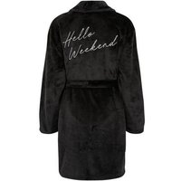 Black Diamanté Hello Weekend Slogan Dressing Gown New Look