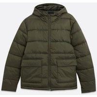 Men's Khaki Hooded Puffer Jacket New Look