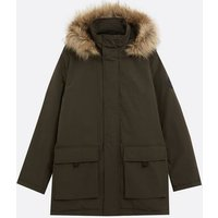 Khaki Faux Fur Hood Heavyweight Parka Coat New Look