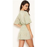 AX Paris Mint Green Floral Flared Sleeve Playsuit New Look
