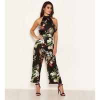 AX Paris Black Satin Tropical Floral Frill Jumpsuit New Look