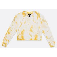 Girls Yellow Tie Dye Sweatshirt New Look