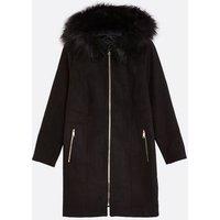 Curves Black Faux Fur Zip Hooded Jacket New Look