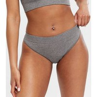 Pale Grey Ribbed Seamless Thong New Look