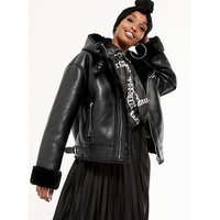 Black Faux Fur Lined Leather-Look Hooded Aviator Jacket New Look