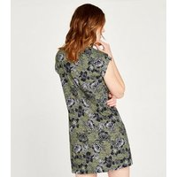 Apricot Olive Floral Cap Roll Sleeve Dress New Look
