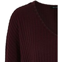Burgundy Ribbed Fine Knit Batwing Top New Look