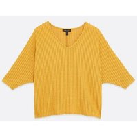 Mustard Ribbed Fine Knit Batwing Top New Look