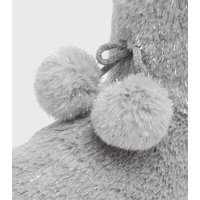 Grey Faux Fur Pom Pom Boot Slippers New Look Vegan