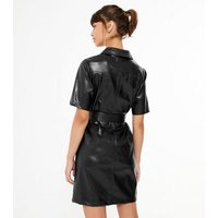 Urban Bliss Black Leather-Look Shirt Dress New Look