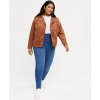 Curves Blue Contour Super Skinny Jeans New Look